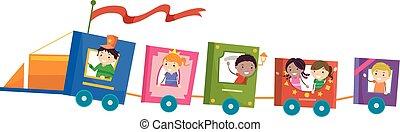 lovagol, kiképez, stickman, könyv, gyerekek