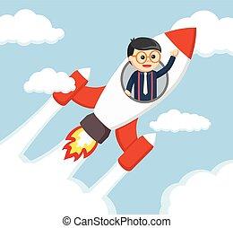 lovagol, vektor, nerd, rakéta, illustratio