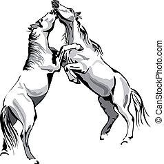 lovak, áttekintés, -, küzdelem, vektor, fekete, fehér