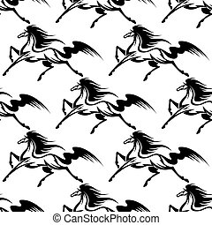 lovak, elegáns, fekete, seamless, motívum