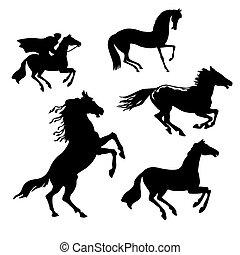 lovak, fehér, állhatatos, háttér, vektor