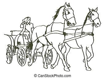 lovak, húzott, kéz