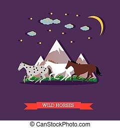 lovak, hegyek, galopp, három, át, vad