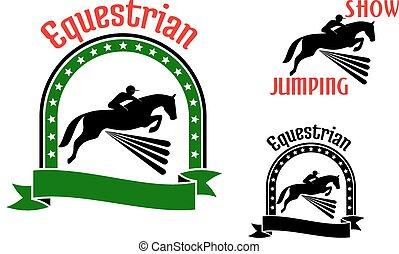 lovak, jelkép, ugrás, sport, lovaglási