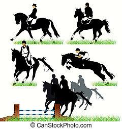 lovak, körvonal, csal