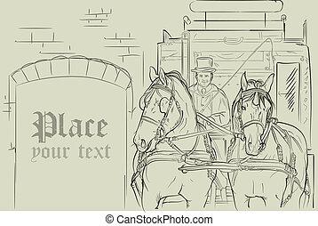 lovak, kocsi, vektor