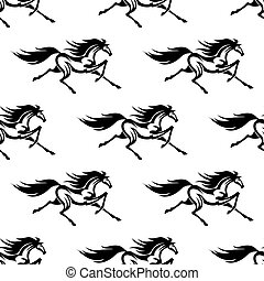 lovak, motívum, fehér, fekete, seamless