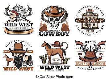 lovak, nyugat, ikonok, vad, cowboy