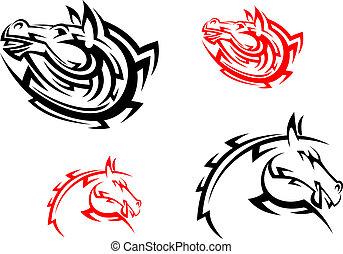 lovak, törzsi, black piros, szerencsetárgy