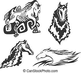 lovak, tetovál, állhatatos, stencils