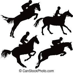lovak, ugrás, lovasok