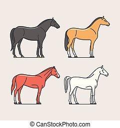 lovak, vektor, ábra