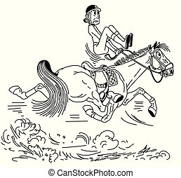lovas, ló, karikatúra
