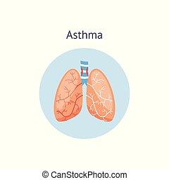 lungs., orvosi, asztma, emberi, ikon