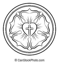 luther, rózsa, calligraphic, monochrom
