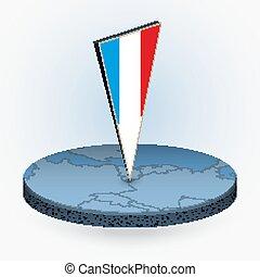 luxemburg, isometric, kerek, háromszögű, mód, térkép, 3, lobogó