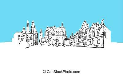 luxemburg, panoráma, vektor, skicc, láthatár
