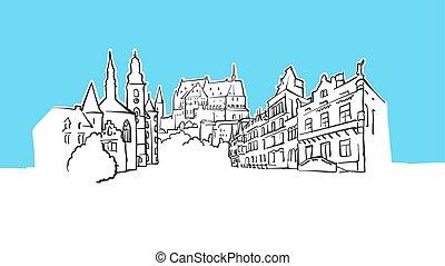 luxemburg, vektor, skicc, lineart