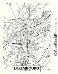 luxemburg, vektor, tervezés, város, utazás, térkép, poszter