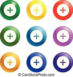 mágnes, állhatatos, vektor, ikonok