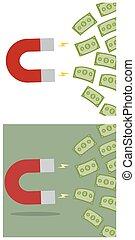 mágnes, pénz, készpénz, vonz