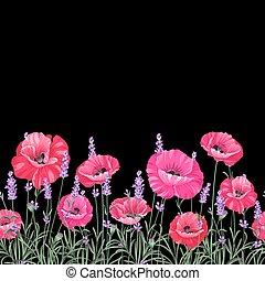 mák, motívum, flowers.