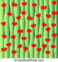 mák, piros, flowers., háttér