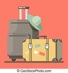 málhazsák, öreg, elszigetelt, mód, bőrönd, tol, kalap