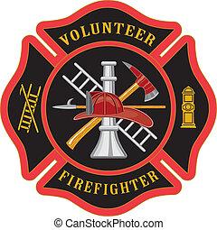 máltai, tűzoltó, kereszt, önként felajánl