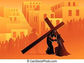 mária, áldott, övé, találkozik, anya, jézus