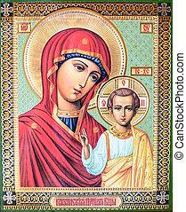 mária, ikon, krisztus, jámbor, jézus