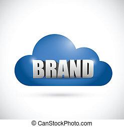 márka, tervezés, felhő, ábra