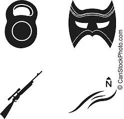 más, felteker, észak, fekete, karabély, ikon, háló, állhatatos, súly, collection., style., ikonok, maszk