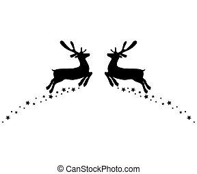 más, két, csillaggal díszít, ugrás, fehér, elszigetelt, reindeers, mindegyik