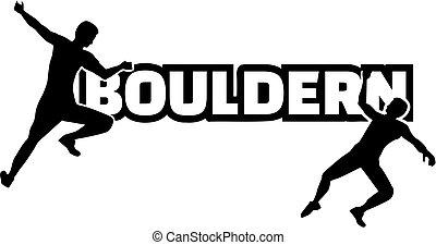 mászó, bouldern, szó, ember