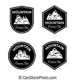 mászó, hegy, badges., illustration., utazó, vektor, kempingezés, állhatatos, elgáncsol