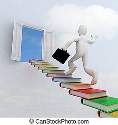 mászik lépcsősor, tudás, siker, üzletember