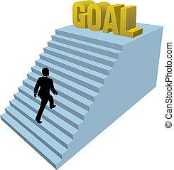 mászik, személy, achiev, lépések, ügy