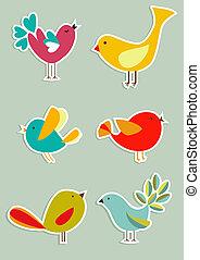 média, állhatatos, madarak, társadalmi