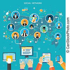 média, összeköttetés, fogalom, hálózat, társadalmi