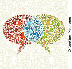 média, beszél, társadalmi, ikon, állhatatos, panama