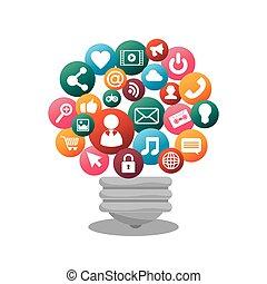 média, elszigetelt, tervezés, társadalmi, gumó, ikon