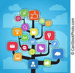 média, elvont, modern, tervez, társadalmi