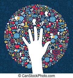 média, hálózat, ügy, társadalmi
