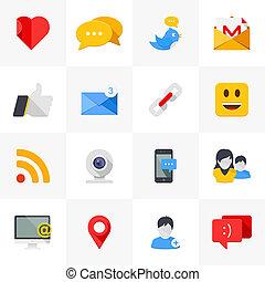 média, icons., társadalmi