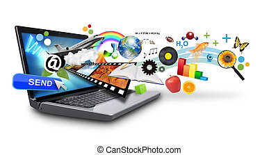 média, multi-, internet, laptop, fölött