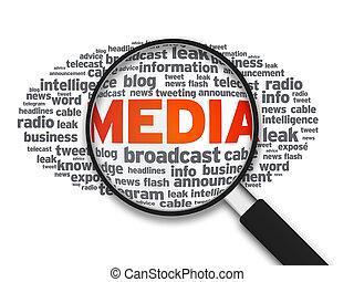 média, pohár, -, magasztalás