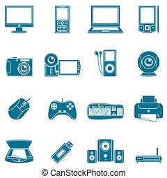 média, számítógép, icons.