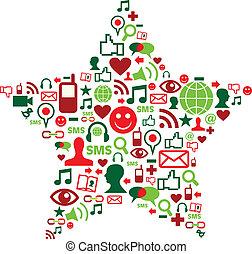 média, társadalmi, csillag, karácsony, ikonok