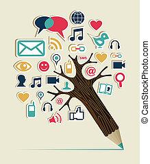 média, társadalmi, fa, hálózat, ceruza